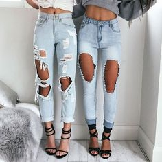 Distressed denim is better when it comes in twos.