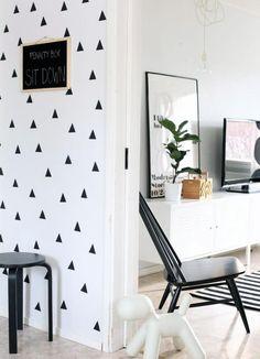 papier peint blanc, triangles nordiques