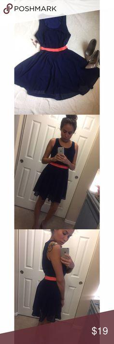Chiffon dress Beautiful chiffon navy blue dress , coral waist belt , open back , skater style Dresses Mini
