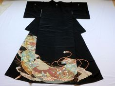 Japanese Vintage Kimono Silk Black Tomesode Scroll P072038 | eBay