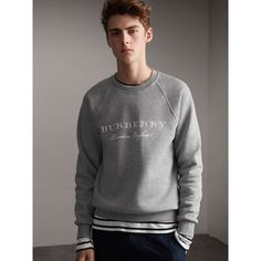 Embroidered Jersey Sweatshirt in Pale Grey Melange - Men | Burberry Singapore