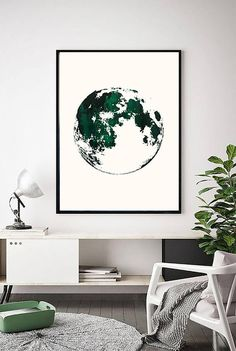 Printable Green Moon Print | Moon Art | Abstract Green Art | Forest Green Print | Minimal | Modern | Teal | Dark Green | Moon Painting  PLEASE NOTE:  This listing is an INSTANT DIGITAL DOWNLOAD SET OF THIS PRINT. No physical artwork will be sent. Once purchased, you will instantly