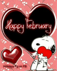 'Happy February', Snoopy in Valentines Day❤️❤️ Snoopy Valentine, My Funny Valentine, Happy Valentines Day, February Holidays, Happy February, February Quotes, Snoopy Love, Snoopy And Woodstock, Happy Snoopy
