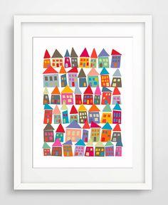 The Neighborhood in Color - Matted Art Print - KatMariacaStudio - 1