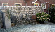 Steinwand - Gabione als Sichtschutz für den Sitzplatz