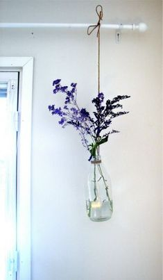DIY hanging plant vase: in my kitchen with freshly cut herbs
