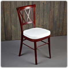 """Mahogany Dining Chair - 18"""" wide across the back and 35"""" tall. Micro suede or Topaz seat pad covers available separately in a variety of colors."""