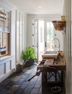 inside/outside hallway; mudroom-esk entrance into the house to wash and cut produce and flowers