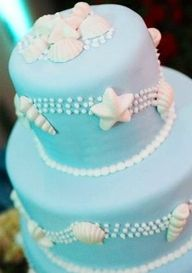 Ocean cake :)...perfect colors, white chocolate shell candies and white dots on aqua...just add white lilies and orchids