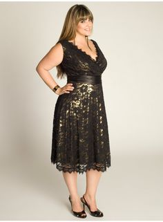 Leigh Plus Size Lace Dress in Gold - Dresses by IGIGI  Love this!! Santa, can I have this one?!