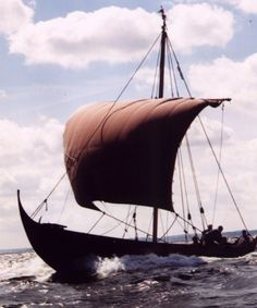 """Imme Heidrun"". built 1969. vikingeskib.dk | Skibsklan Yggdrasil. Based on the two small Gokstad boats Viking Longboat, Norway Viking, Viking Ship, History Channel, Fantasy Illustration, Boat Building, Prehistoric, Historical Photos, Archaeology"