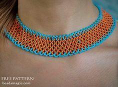 Free pattern for necklace Orange Summer