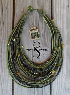 Mirkwood OOAK yarn-wrapped necklace with bits of Polish amber - tribal / hippie / bohemian / amber / fiber