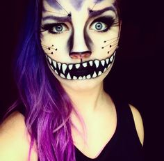 Cheshire Cat Halloween makeup blue and purple hair