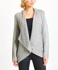 Gray Ribbed Sparkle Open Cardigan @Pascale Lemay De Groof