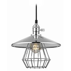 Vintage Hoyt Polished Chrome Cone Shade Mini-Pendant Light With Cage >>> Continue with the details at the image link. #LampLightingFixtures