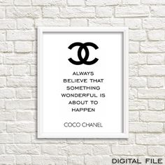Chanel wall art, printable wall decor, Chanel inspired, chanel qoute, chanel…