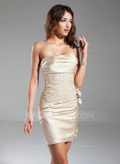 Vestido tubo Estrapless Corto/Mini Satén Baile de promoción con Volantes Bordado Flores (016015329)