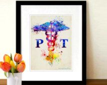"Watercolor Physical Therapist - Caduceus, Fine Art Print, 8.5"" x 11"" print, Nurse Gift, Physical Therapist gift, Doctors office decor"