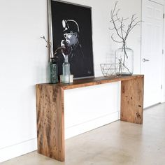 Reclaimed Wood Console Table / Modern Plank Entryway Table Our reclaimed wood modern console table i Wood Sofa, Decor, Furniture Design, Rustic Furniture, Reclaimed Wood Console Table, Wood Sofa Table, Home Decor, Modern Console, Entryway Tables