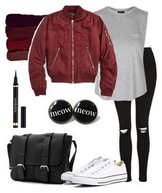 """Bomber Jacket."" by pytricia ❤ liked on Polyvore featuring Topshop, Serge Lutens and Converse"