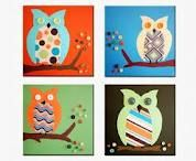 Items similar to Retro Owls nursery paintings on canvas. 4 Owl pictures for baby & child owls theme for boys and girls room (not prints) on Etsy Owl Crafts, Cute Crafts, Crafts For Kids, Arts And Crafts, Owl Themed Nursery, Owl Nursery, Nursery Ideas, Owl Canvas, Canvas Ideas