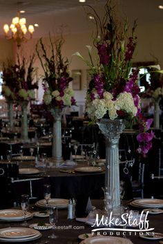 purple flowers #white flowers #tall centerpieces