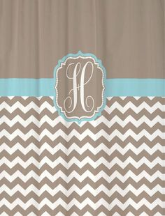 "Shower Curtain Taupe Half Chevron with Light Blue Accents - 69x70"" - Monogrammed Personalized Custom for Your Bathroom, $69.00"