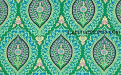LAMINATED fabric - Imperial Paisley emerald yardage by Amy Butler BPA free wide (aka oil cloth vinyl slicker coated fabric)