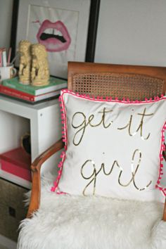 Burlap and Lace: DIY: $5 Gold and Pink Sequin Pillow. I want this in my craft room chair!