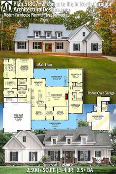 Architectural Designs Modern Farmhouse Plan 51807HZ: We love the curb appeal of this farmhouse with three shed dormers. 2500+ Square Feet 3-4 Bedrooms 2.5 Baths Ready when you are! Where do YOU want to build? Modern Farmhouse Plans, Farmhouse Ideas, New House Plans, Modern House Plans, Beautiful Home Designs, Round Top, Window Ideas, Modern Bedroom, Square Feet