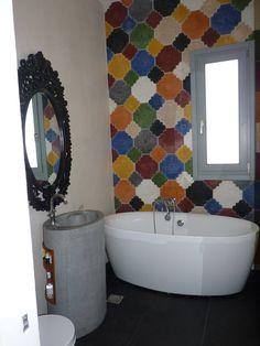 Cement Tiles Bathroom, Moroccan Tiles, Wet Rooms, Artemis, Houzz, Bathroom Ideas, Facebook, Interior Design, Handmade