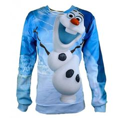 Unisex Hipster Novelty Sweater Olaf Frozen Sweatshirt Hoodies 3D T Shirts (L) (€23) found on Polyvore