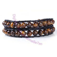 Two Row Bead Wrap Bracelet- Tigers Eye | Coloured Contact Lenses