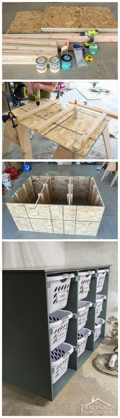 Build a simple DIY laundry basket dresser to help keep your laundry room organized; holds 9 laundry baskets and the smooth top can be used for sorting and folding!