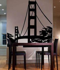 """Vinyl Wall Art Decal Sticker Golden Gate Bridge San Francisco California 72""""x70"""" 6ft Tall"""