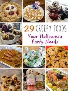 Seriously creepy bites your Halloween party absolutely needs! From intestine pudding, fried rats, Rosemary's Baby, deathly punch and brains in a jar, you will definitely find something you'll want to make for your next party! Plus, they are so easy, we made all of these ourselves! http://www.ehow.com/how_12342954_29-super-creepy-foods-halloween-party-needs.html?utm_source=pinterest.com&utm_medium=referral&utm_content=freestyle&utm_campaign=fanpage