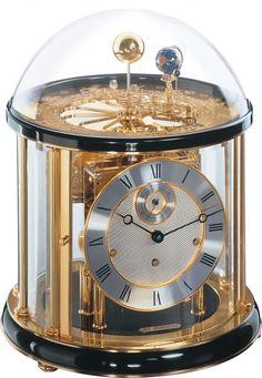 Tellurium I Orrery Clock Hermle Planetarium Mantel Black Wood Westminster