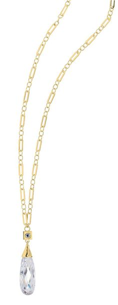 Opulence 18in. Gold Plated CZ Briolette Necklace from ELLE Jewelry