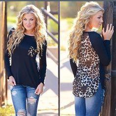 Long Sleeve Black/Cheetah Pattern Top Long Sleeve high low Black/Cheetah Pattern Top. Tops Tees - Long Sleeve