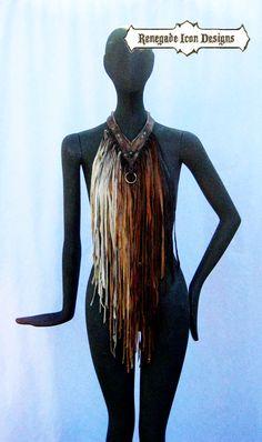 leather fringe necklace fringe bib distressed by Renegadeicon Fringe Necklace, Leather Necklace, Leather Jewelry, Vestidos Country, Burning Man Fashion, Leather Fringe, Diy Clothing, Festival Outfits, Refashion
