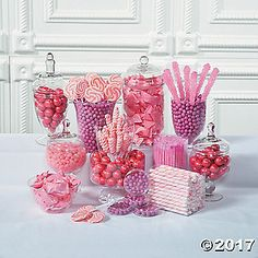 Pretty in pink! Complement pink wedding decorations with candy buffet ideas from our huge selection of wedding candy and wedding supplies. Stock your candy . Pink Candy Buffet, Candy Table, Pink Jelly Beans, Candy Buffet Supplies, Bar A Bonbon, Swirl Lollipops, Pink Wedding Decorations, Sweet 16 Birthday, Pink Birthday