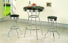 3 Piece Retro Black Bistro Table & Pub Set With 2 Barstools