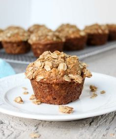 Oatmeal banana muffins with an oatmeal crumb topping. Delicious banana muffins made with oatmeal in the batter and in the crumb topping. Banana Oatmeal Muffins, Oatmeal Bars, Pear Muffins, Rhubarb Muffins, Healthy Banana Muffins, Oat Bars, Breakfast Muffins, Banana Bread, Muffin Recipes