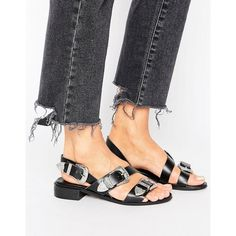 Park Lane Western Buckle Leather Sandal ($61) ❤ liked on Polyvore featuring shoes, sandals, black, black peep toe shoes, buckle sandals, leather buckle sandals, leather shoes and black leather shoes