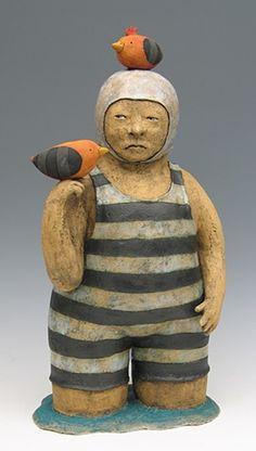 clay ceramic sculpture swimmer birds by sara swink