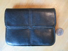 Leather Belt Pouch Vintage Black Cowhide Phone Case by HobbitHouse