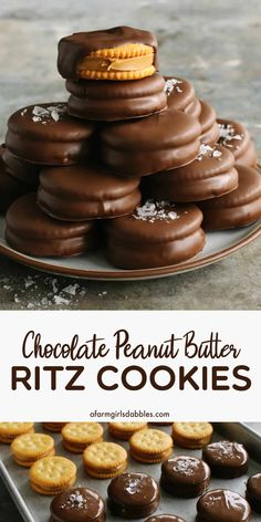 Chocolate Peanut Butter Ritz Cookies from afarmgirlsdabbles. - An easy no-bake sweet and salty treat using Ritz crackers. Our family makes these every year for Christmas. A sprinkle of sea salt flakes puts these over the top! Holiday Desserts, Holiday Baking, Holiday Recipes, Holiday Cookies, Holiday Treats, Christmas Recipes, Brownie Desserts, Just Desserts, Brownie Bowls