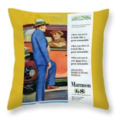 Classic Throw Pillow featuring the drawing Classic American Luxury Car 1920s Marmon 68 by Aapshop