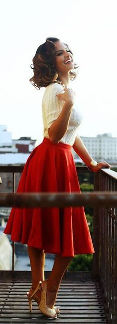 Valentine Romantic Red Pleated Medi Skirt 2015